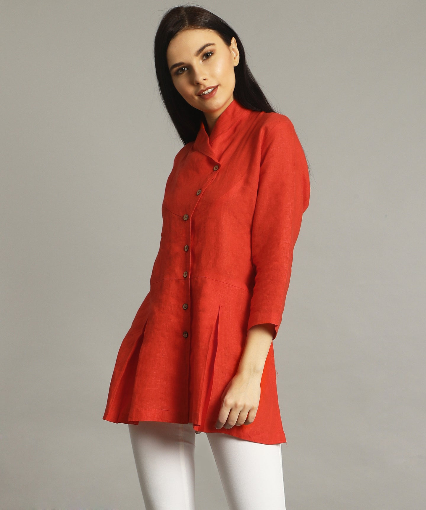 Uptownie Plus Coral Wrap Collar Neck Linen Tunic 1 summer sale