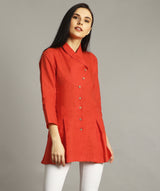 Uptownie Plus Coral Wrap Collar Neck Linen Tunic 3 summer sale