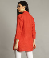 Uptownie Plus Coral Wrap Collar Neck Linen Tunic 4 summer sale