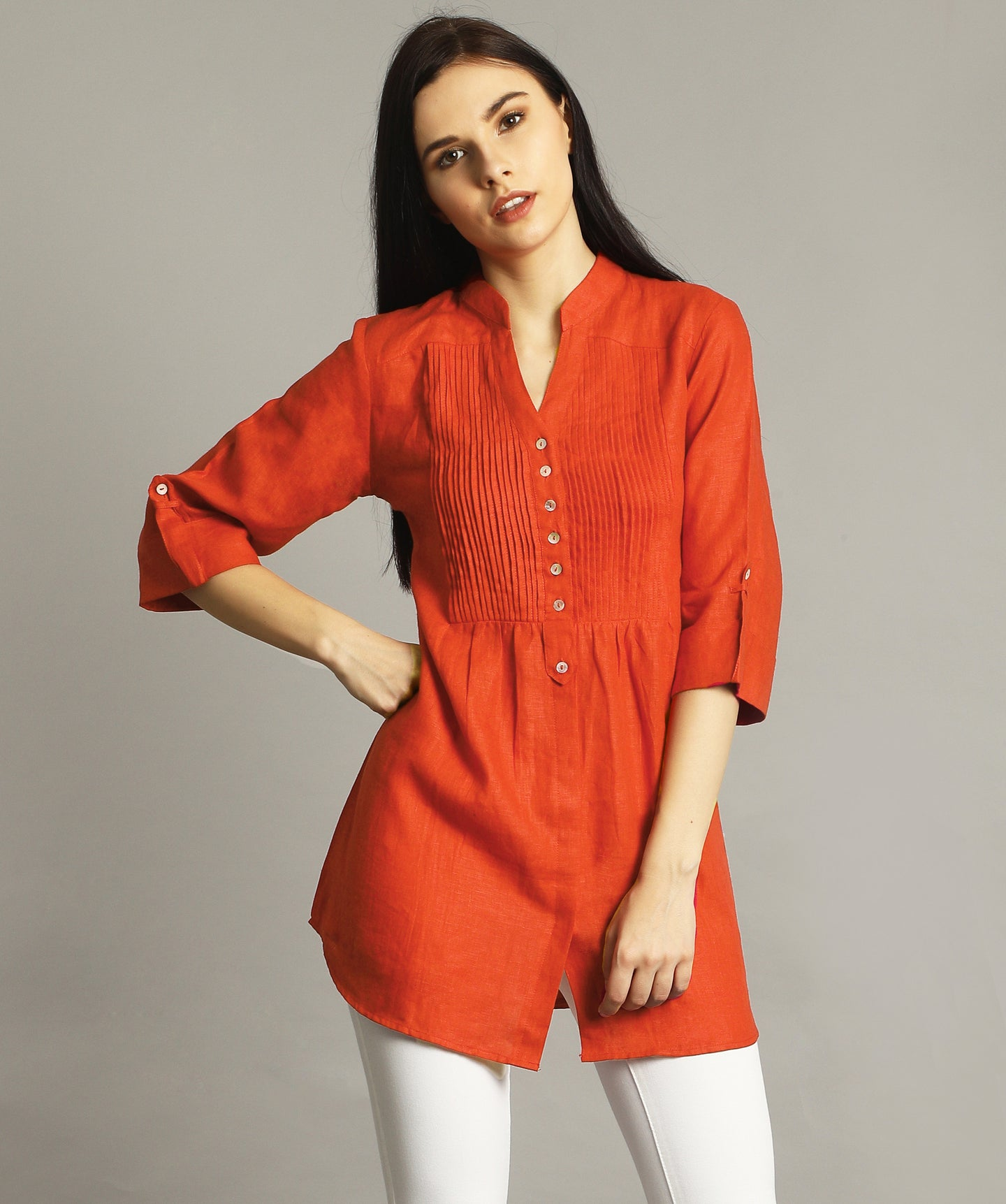 Rust Pleated Yoke Roll-Up Tunic