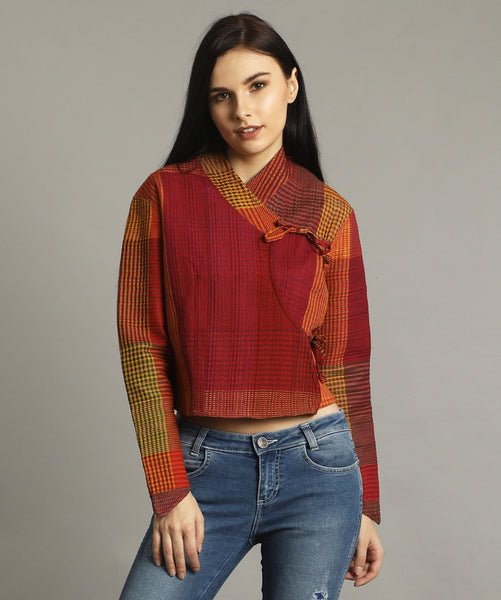 Red Woven Wrap Top