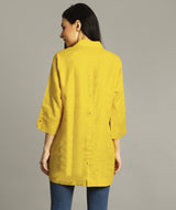 Uptownie Plus Mustard Polo Neck Linen Tunic 2 summer sale