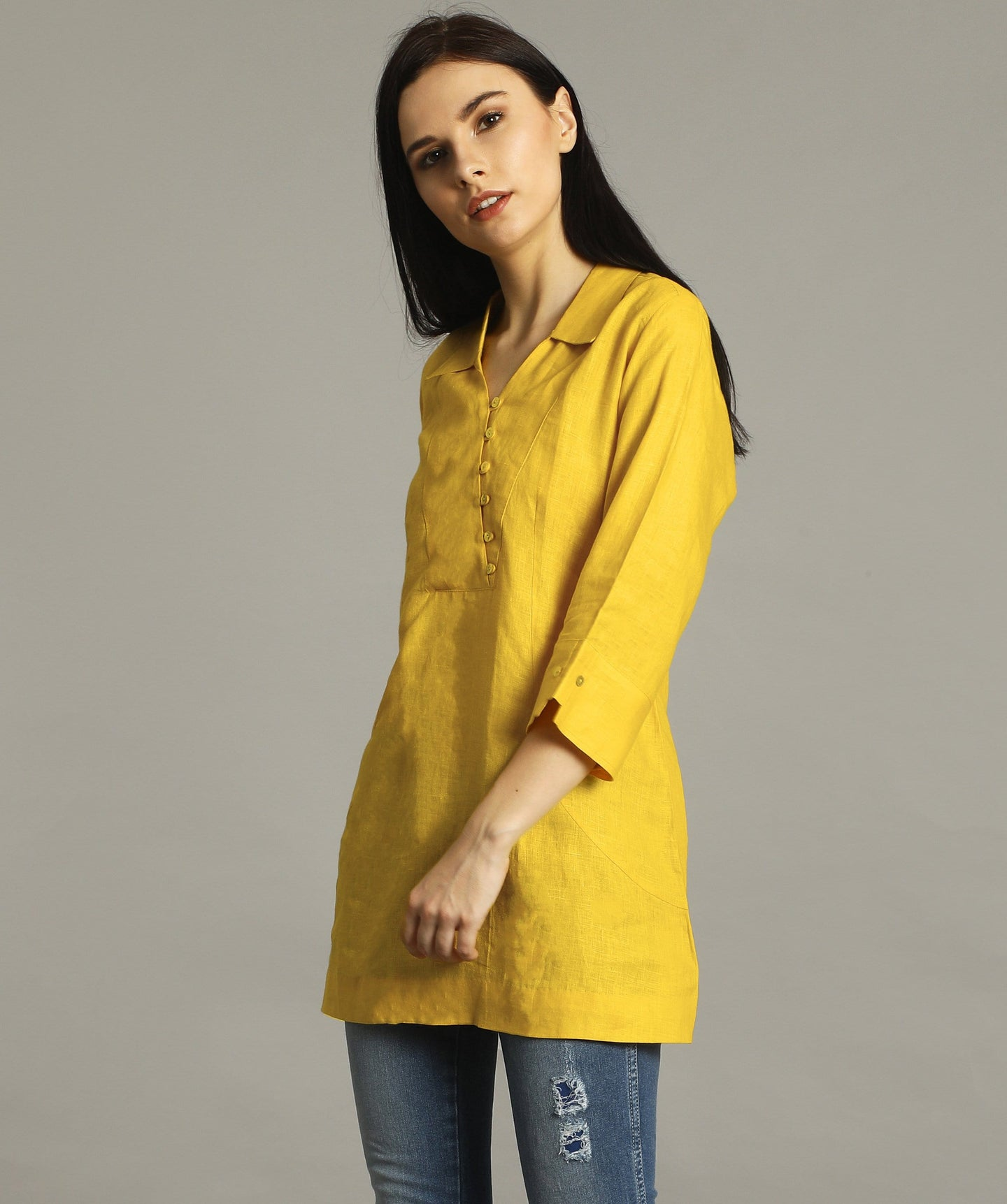 Mustard Polo Neck Linen Tunic