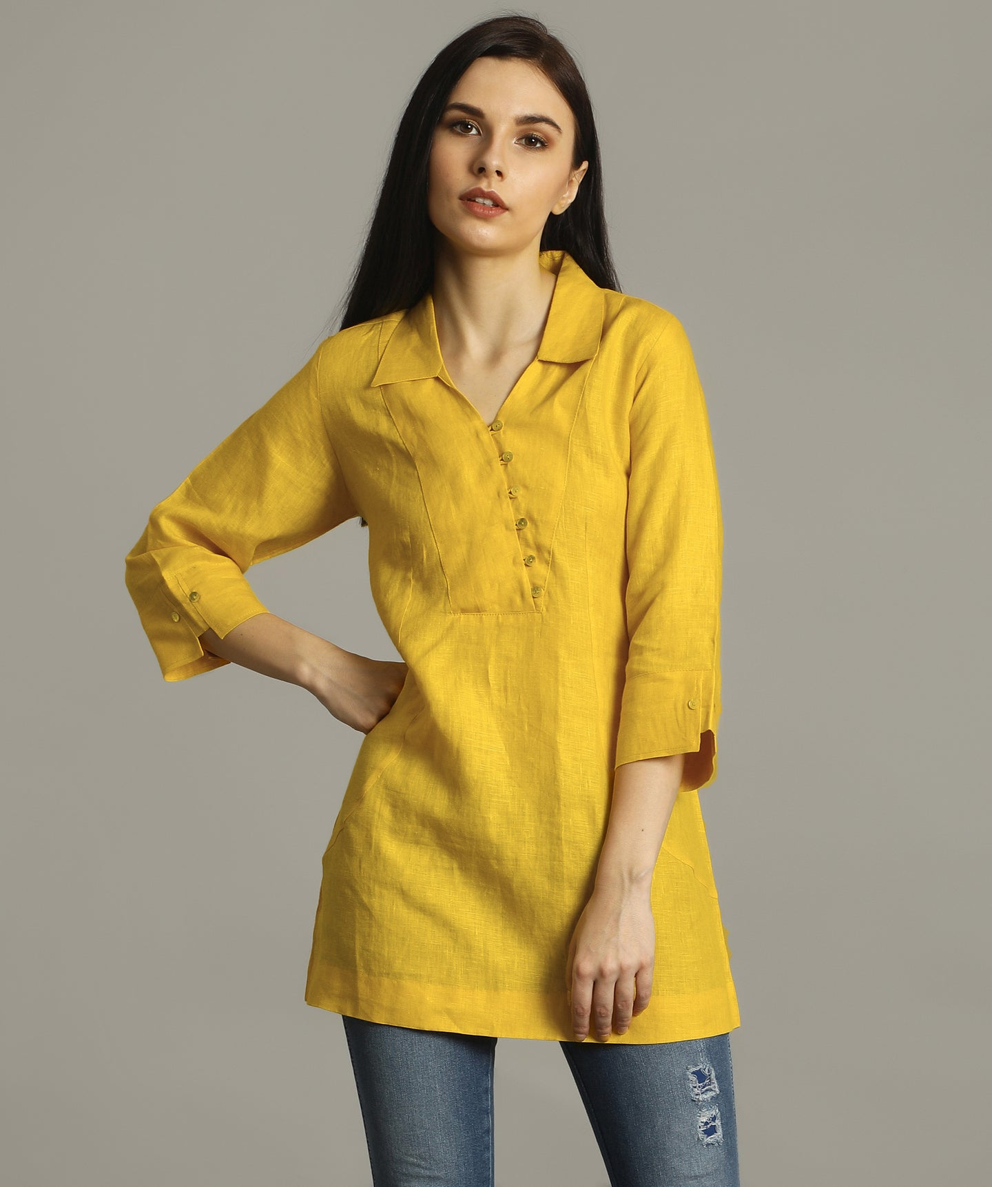 Uptownie Plus Mustard Polo Neck Linen Tunic 1 summer sale
