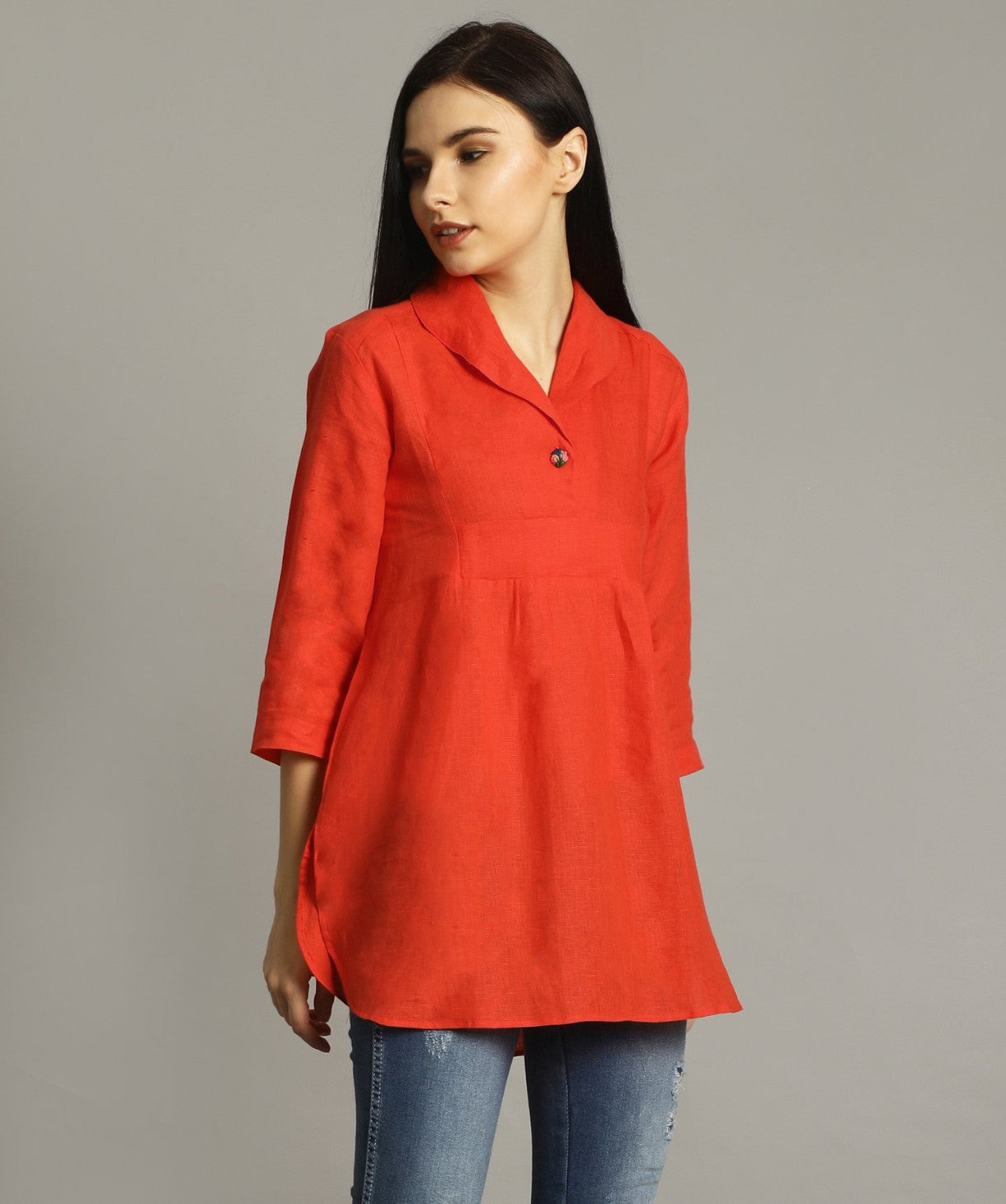 Uptownie Plus Coral Red High-Low Handloom Tunic - Uptownie