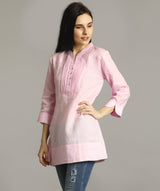 Pink Mandarin Pleated Neck Tunic