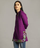Purple Embroidered Border Tunic