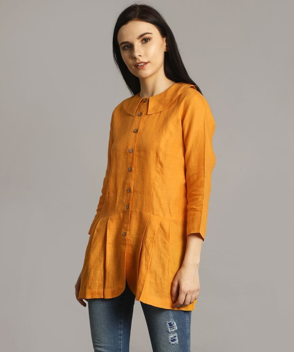 Mustard Peter Pan Neck Linen Tunic