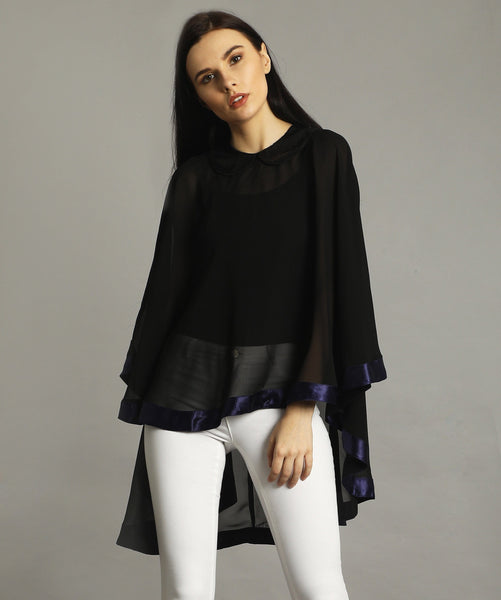 Black Georgette Cape Top