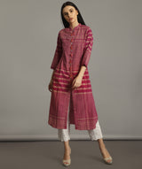 Pink Handloom Cotton Check Kurti