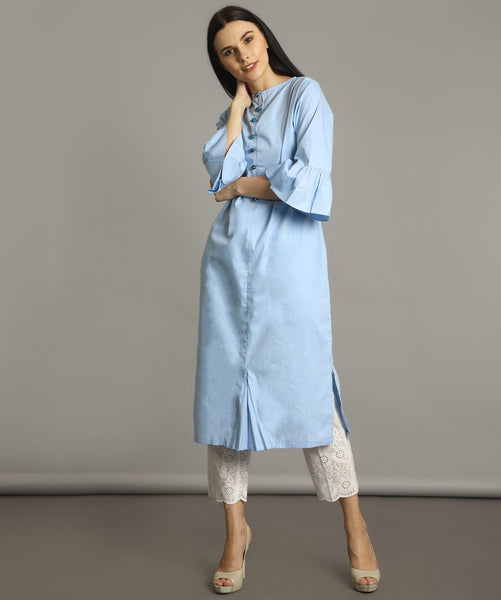 Sky Blue Bell Sleeves Kurti Dress
