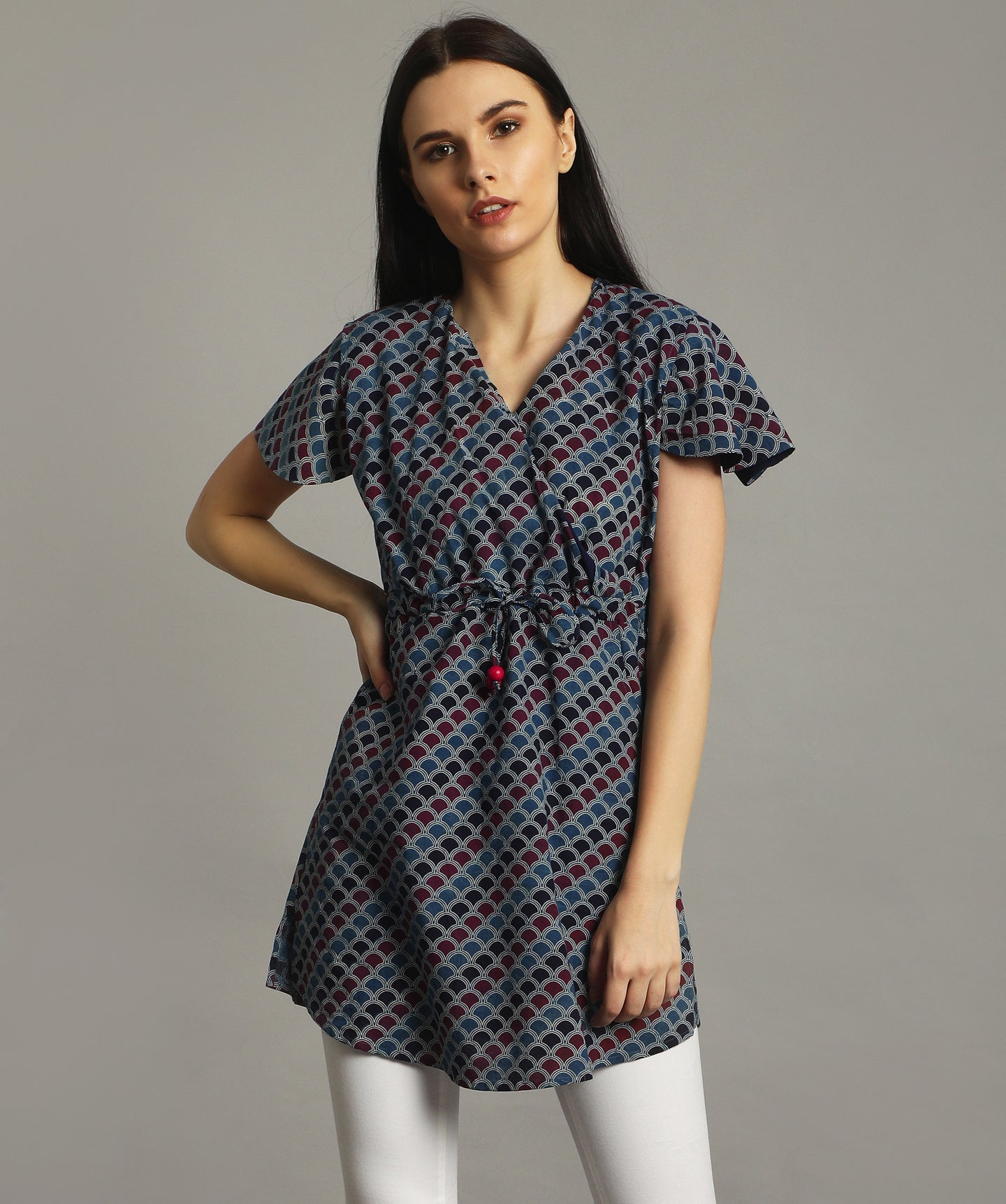 Blue Flared Sleeve Printed Tunic