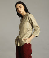Uptownie Plus Handloom Printed Gold Zipper Tunic - Uptownie