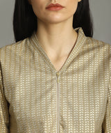 Handloom Printed Gold Zipper Tunic