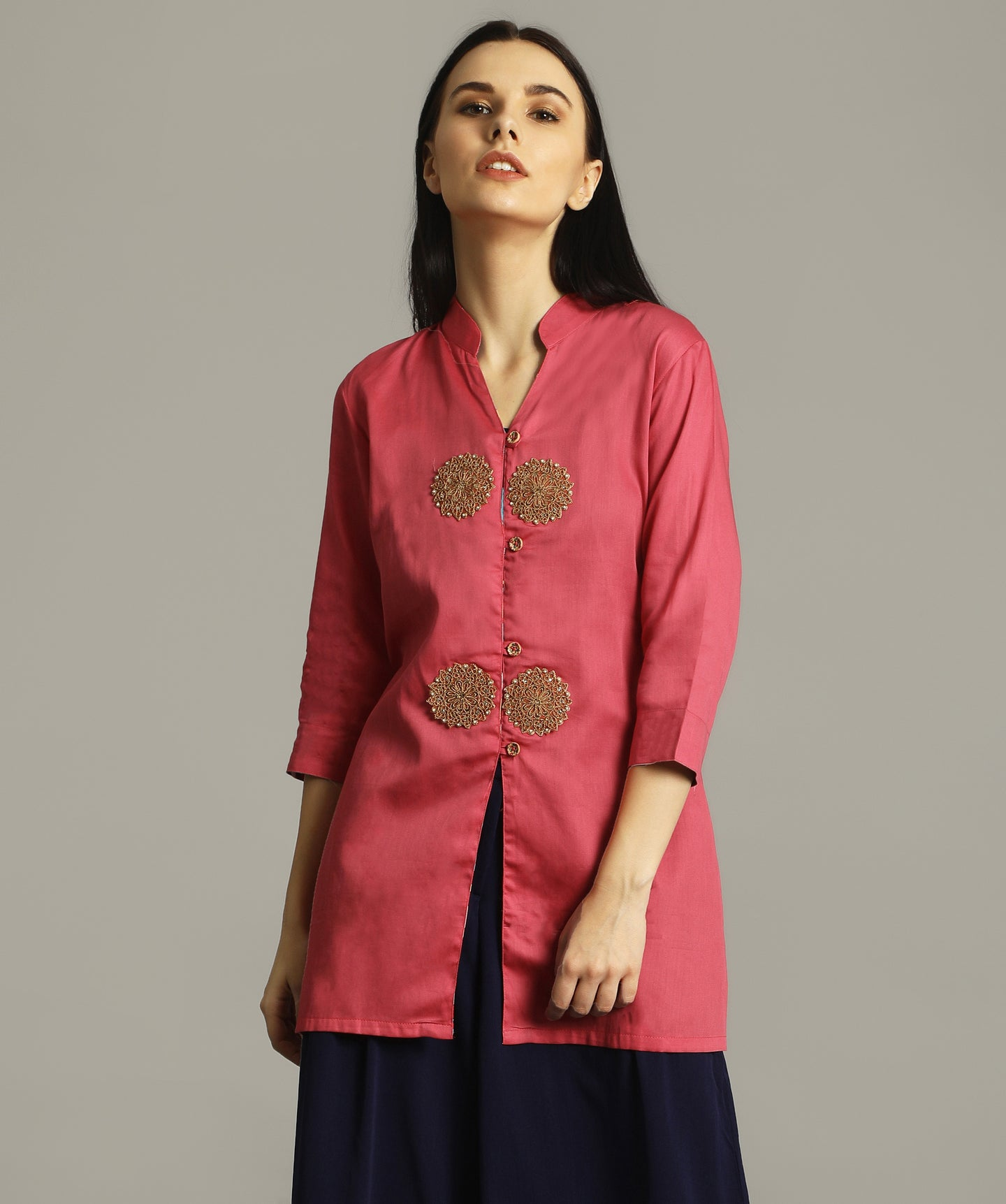 Uptownie Plus Pink Satin Cotton Tunic. FLAT 200 OFF