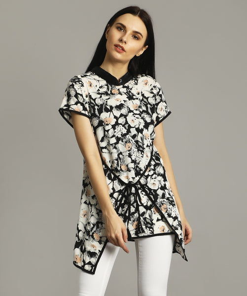 Black Floral Overlay Tunic