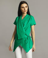Green Linen Wrap Shrug