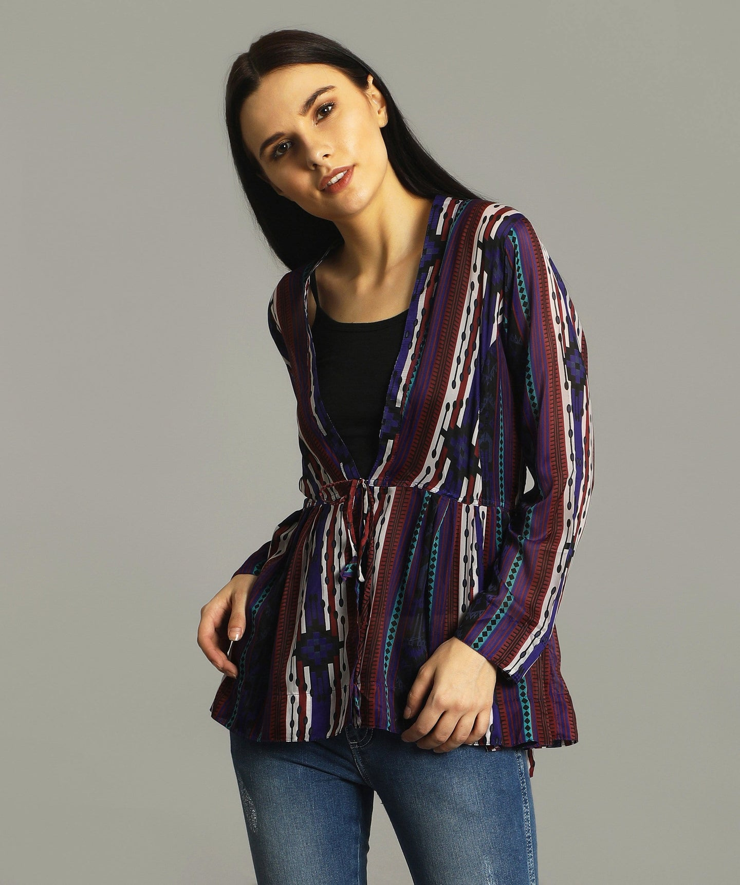 Printed Georgette Tie Up Shrug