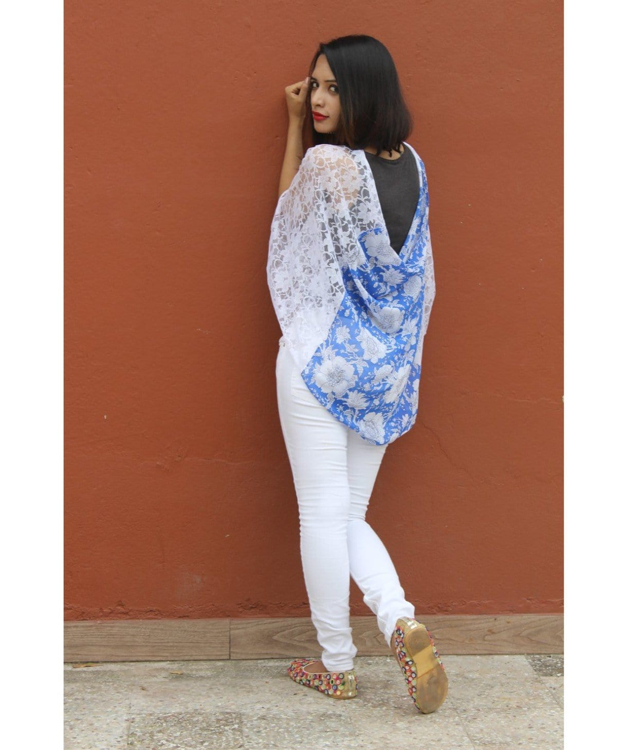 Uptownie Plus Floral Printed Lace Cape 1 trendsale