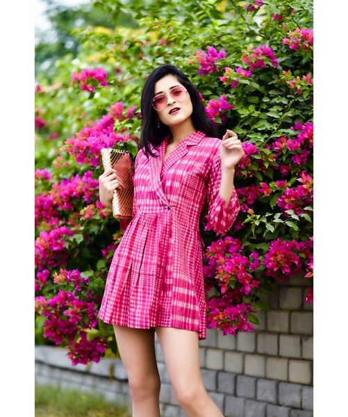 Pink Checkered Wrap Handloom Tunic