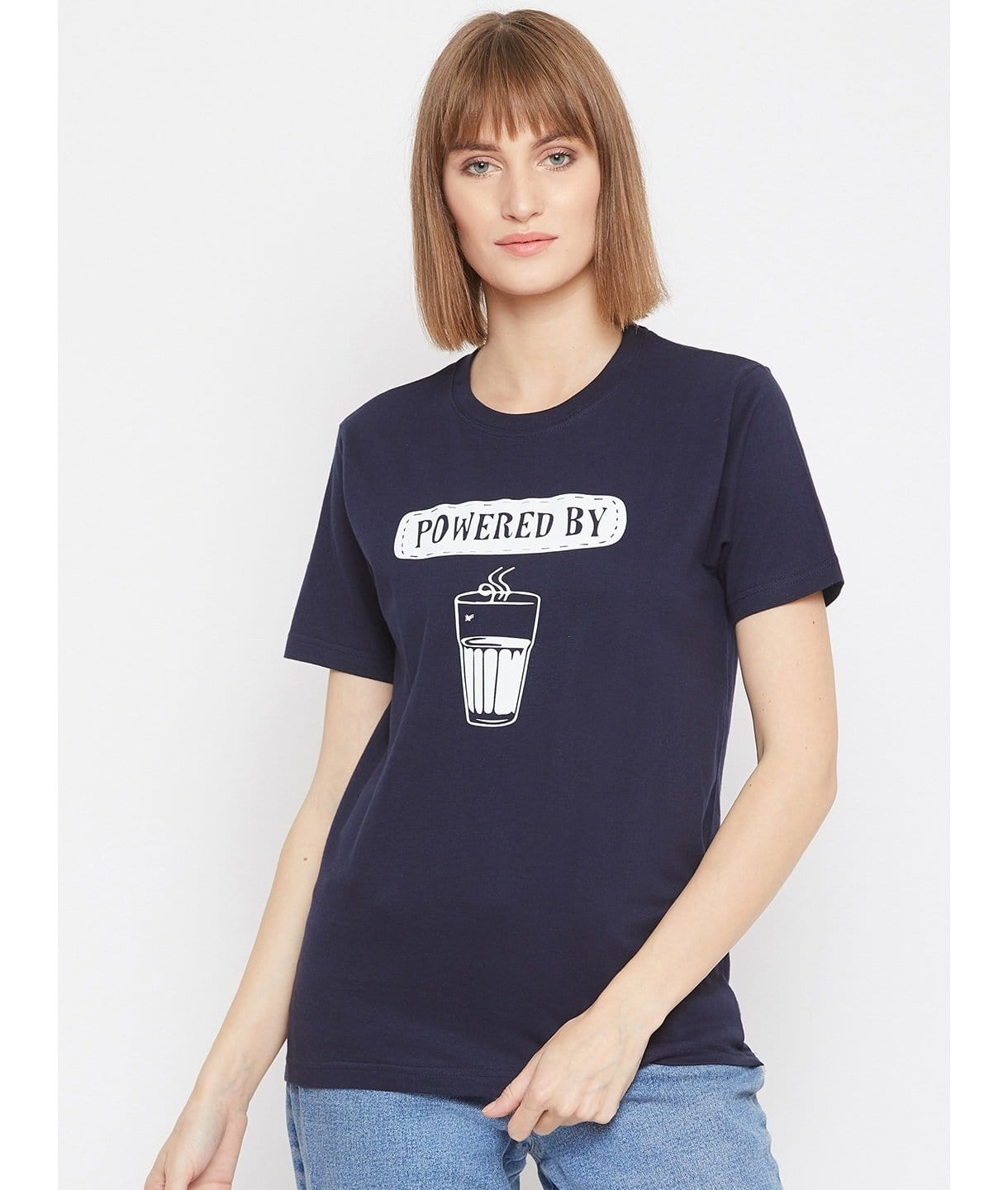Navy Blue Casual Text T-Shirt