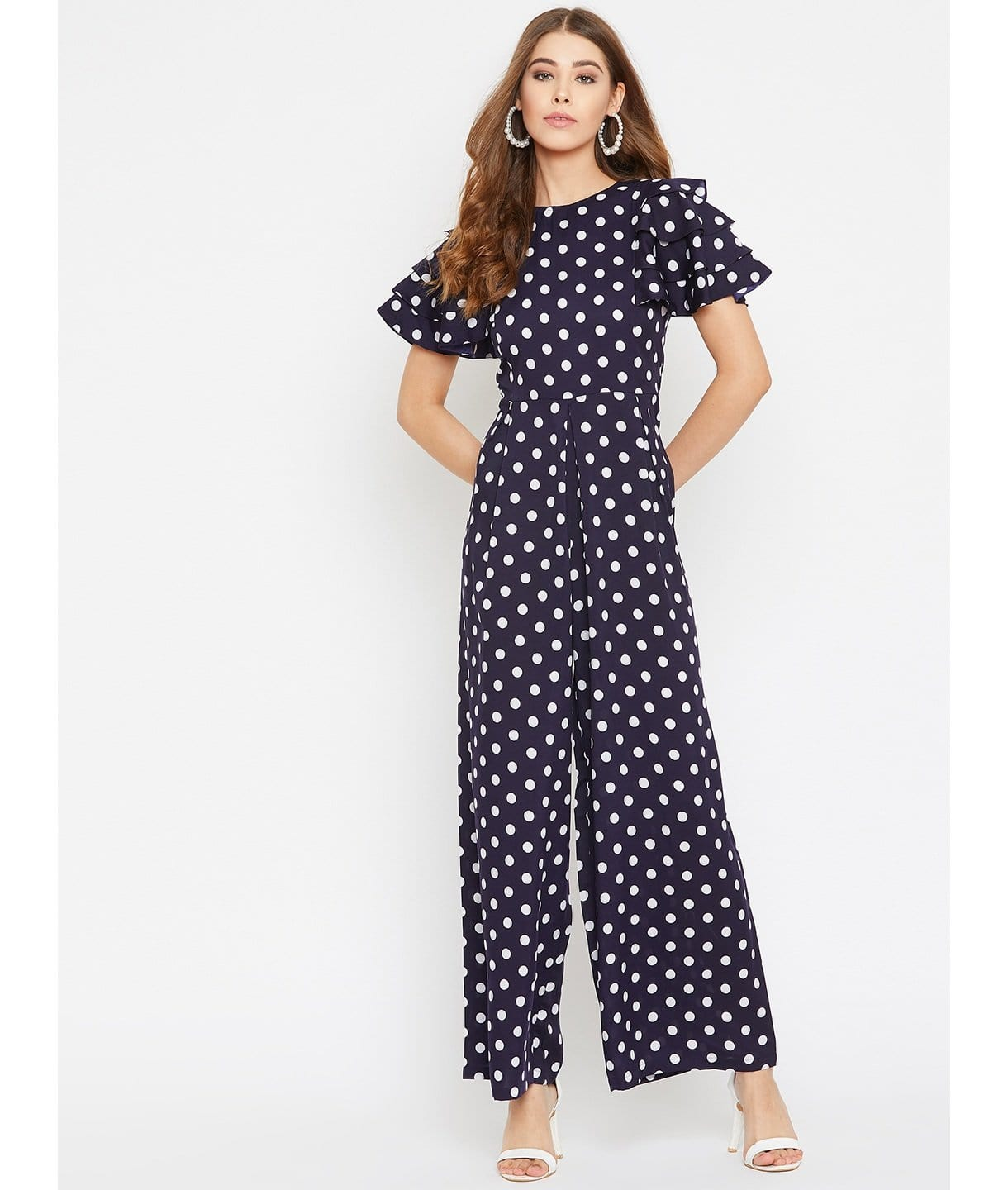 Printed Relaxed Fit Full Length Jumpsuit With Ruffled Sleeves