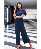 Uptownie Navy Solid Relaxed Fit Full Length Jumpsuit With Ruffled Sleeves