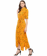 Yellow Printed Cotton Roll-Up Sleeves Maxi Dress