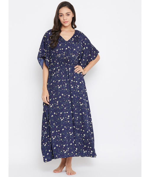 Comfortable Blue Printed Kaftan Which Doubles Up As A Nightie