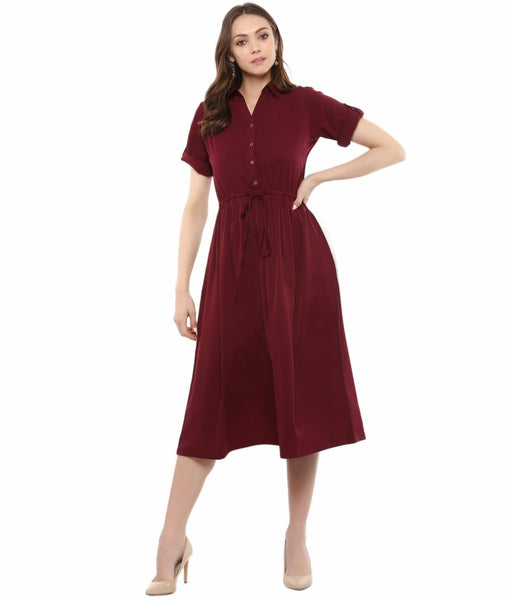 Maroon Solid Crepe Collar 3/4th Sleeves Skater Dress