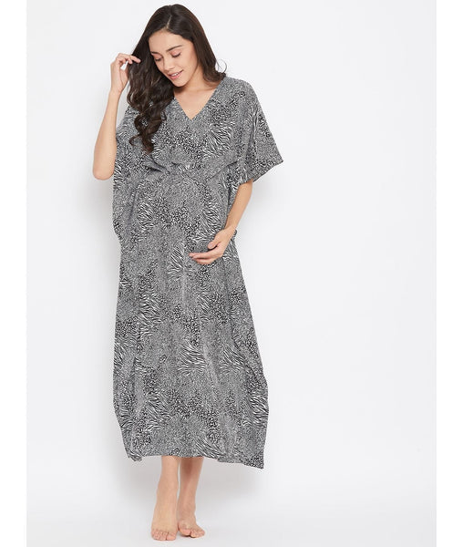 Comfortable Animal Print Maternity Kaftan Which Doubles Up As A Nightie