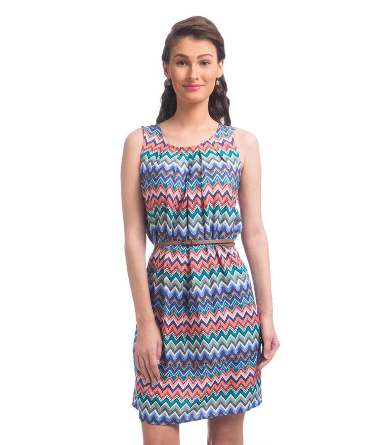 Printed Blue Crepe Shift Crepe Dress - Uptownie