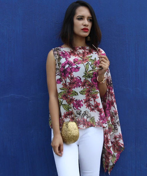 Printed Pink Sleeveless Cape - Uptownie