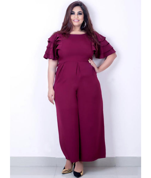 Uptownie Plus Maroon Solid Relaxed Fit Full Length Jumpsuit With Ruffled Sleeves