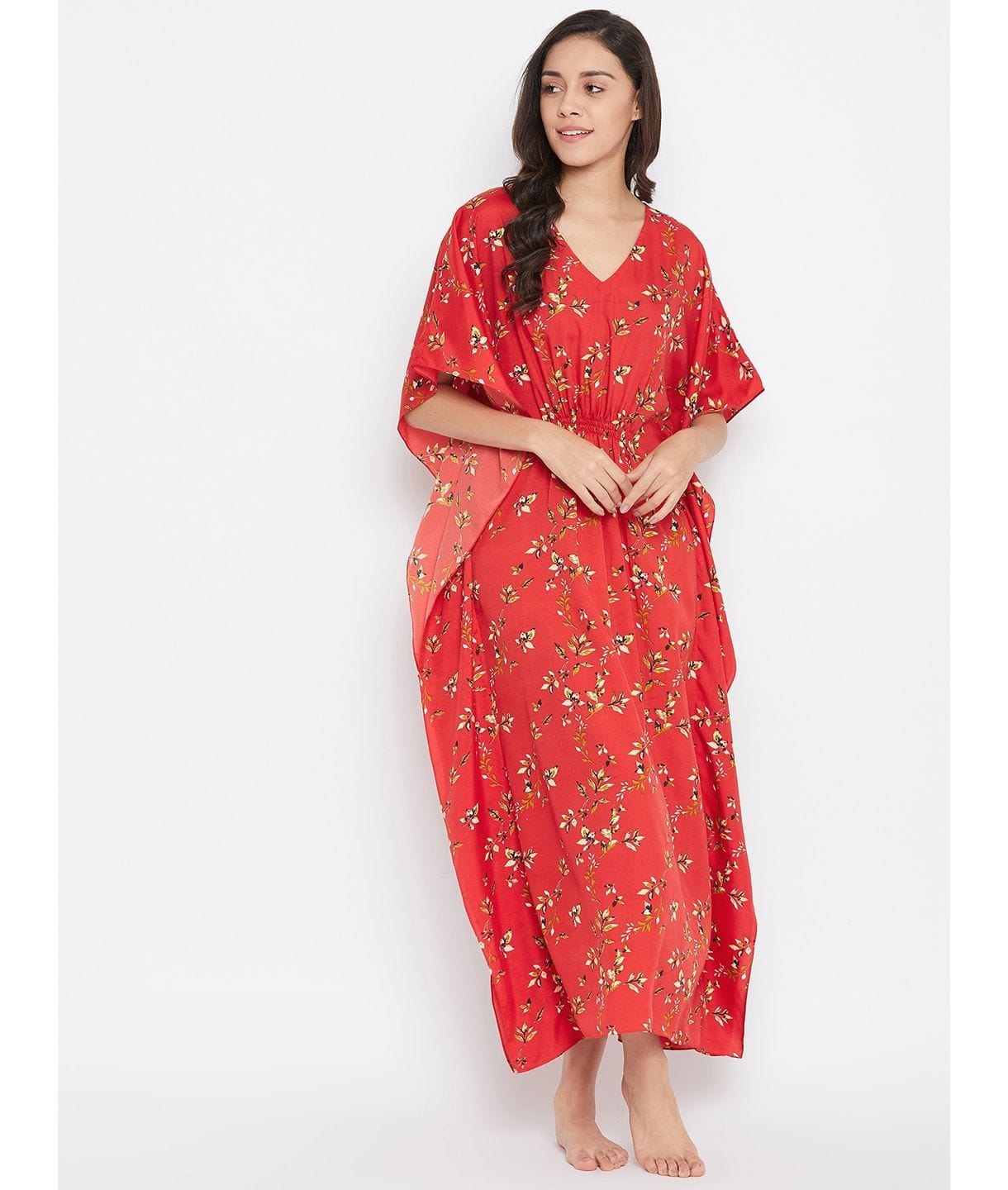 Comfortable Red Printed Kaftan Which Doubles Up As A Nightie