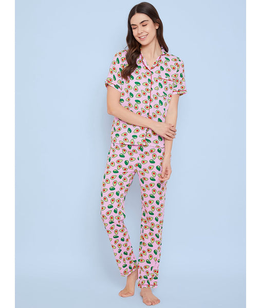 Uptownie Plus Pink Avacado Print Night Suit