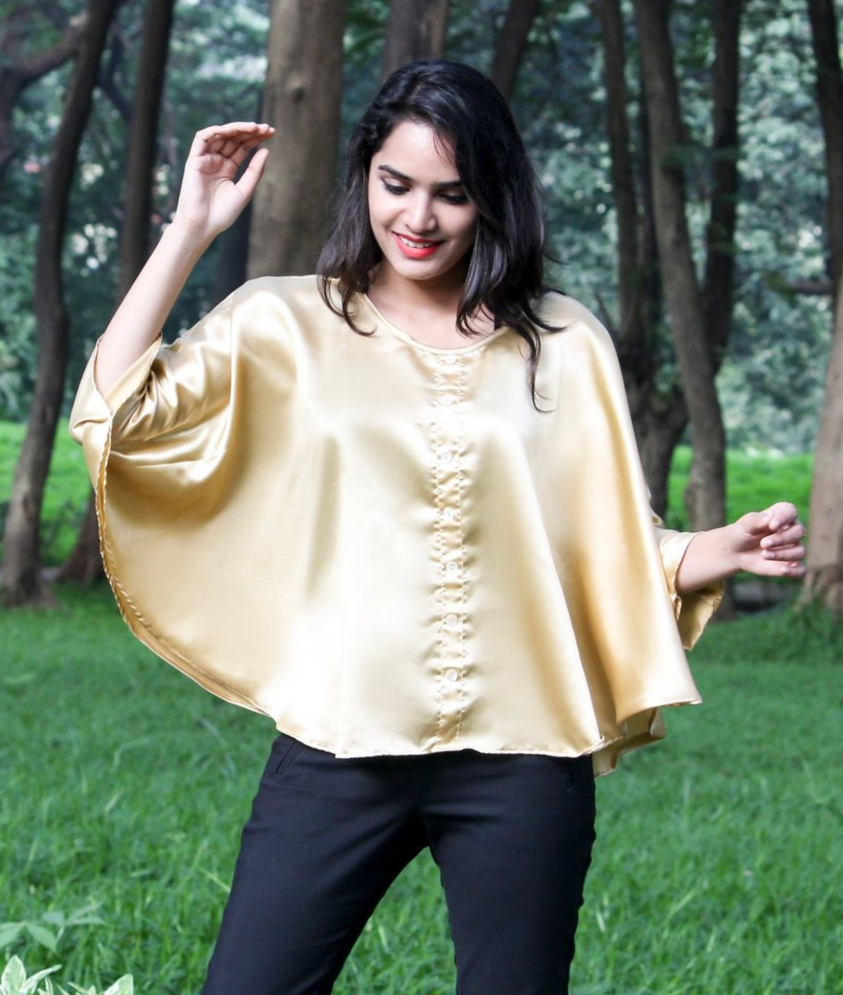 Uptownie Plus Solid Gold Satin Cape Top