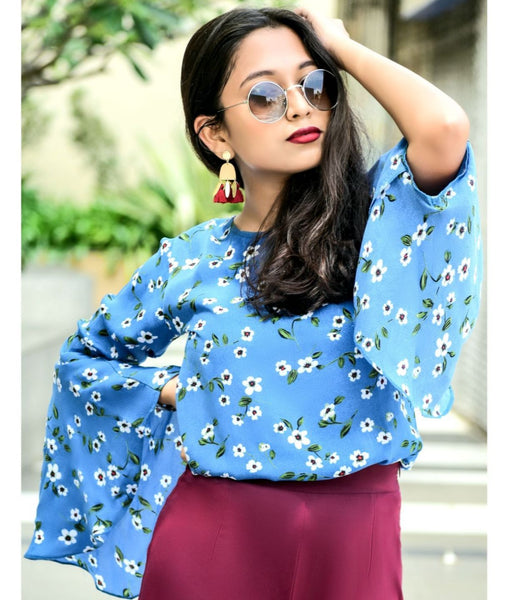 Uptownie Plus Blue Floral Print Round Neck Bell Sleeves Top