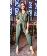 Olive Green Roll Up Jumpsuit