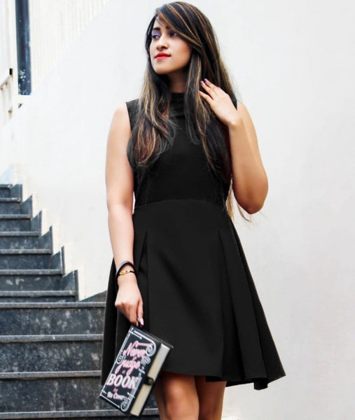Black Box Pleated Skater Dress