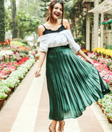 Uptownie Plus Emerald Green Pleated Satin Skirt