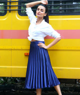 Uptownie Plus Navy Pleated Satin Skirt