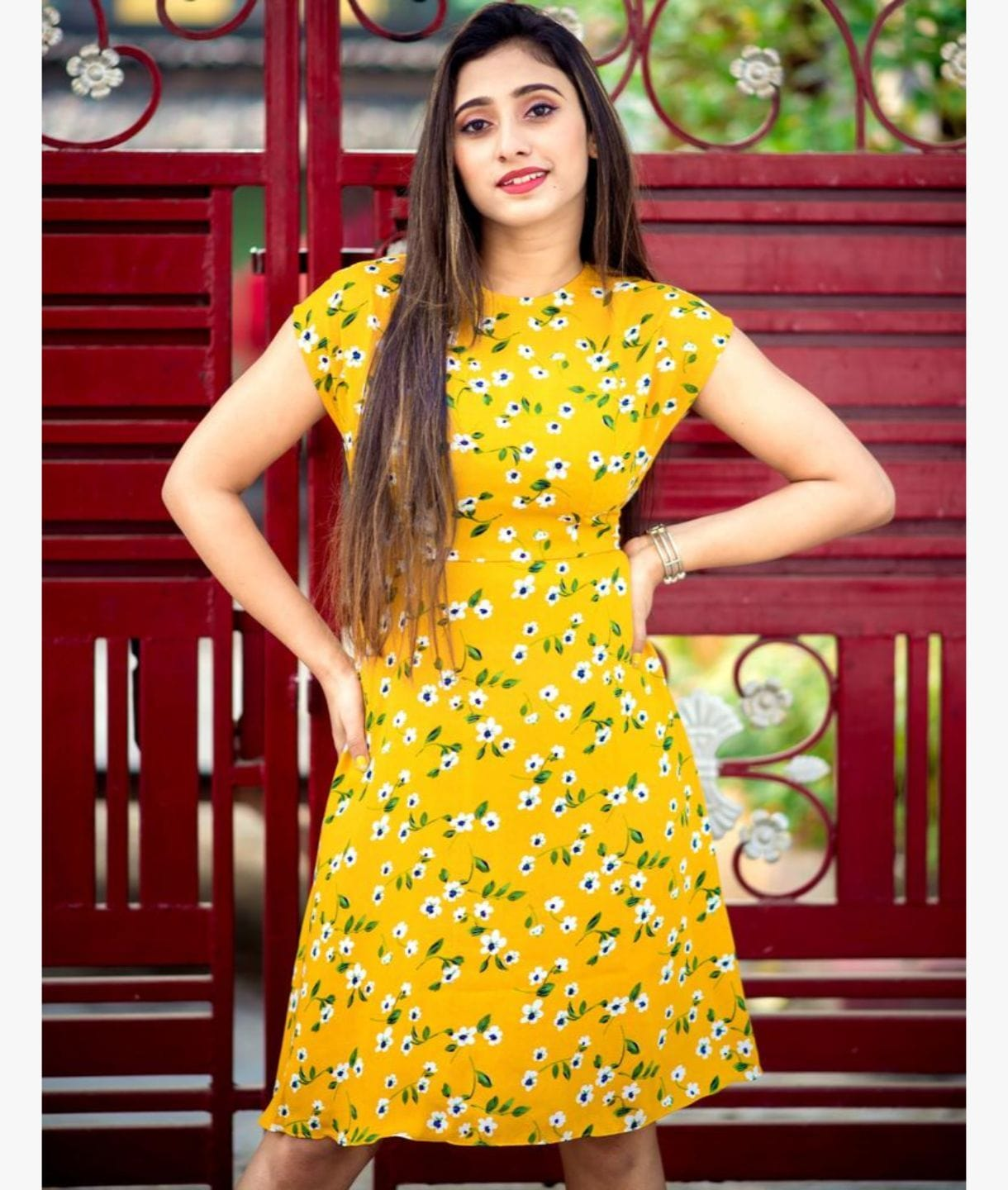 Yellow Floral Printed Cap Sleeves Skater Dress
