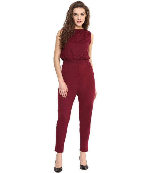 Maroon Solid Sleeveless Stretchable Cotton Jumpsuit - Uptownie