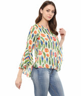 Uptownie Plus Feather Print Bell Sleeves White Top
