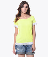 Uptownie Plus Solid Yellow Lace T-shirt (cotton) - Uptownie