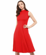 Uptownie Plus Red Solid High Neck Stretch Sleeveless Jersey/Cotton Skater Dress