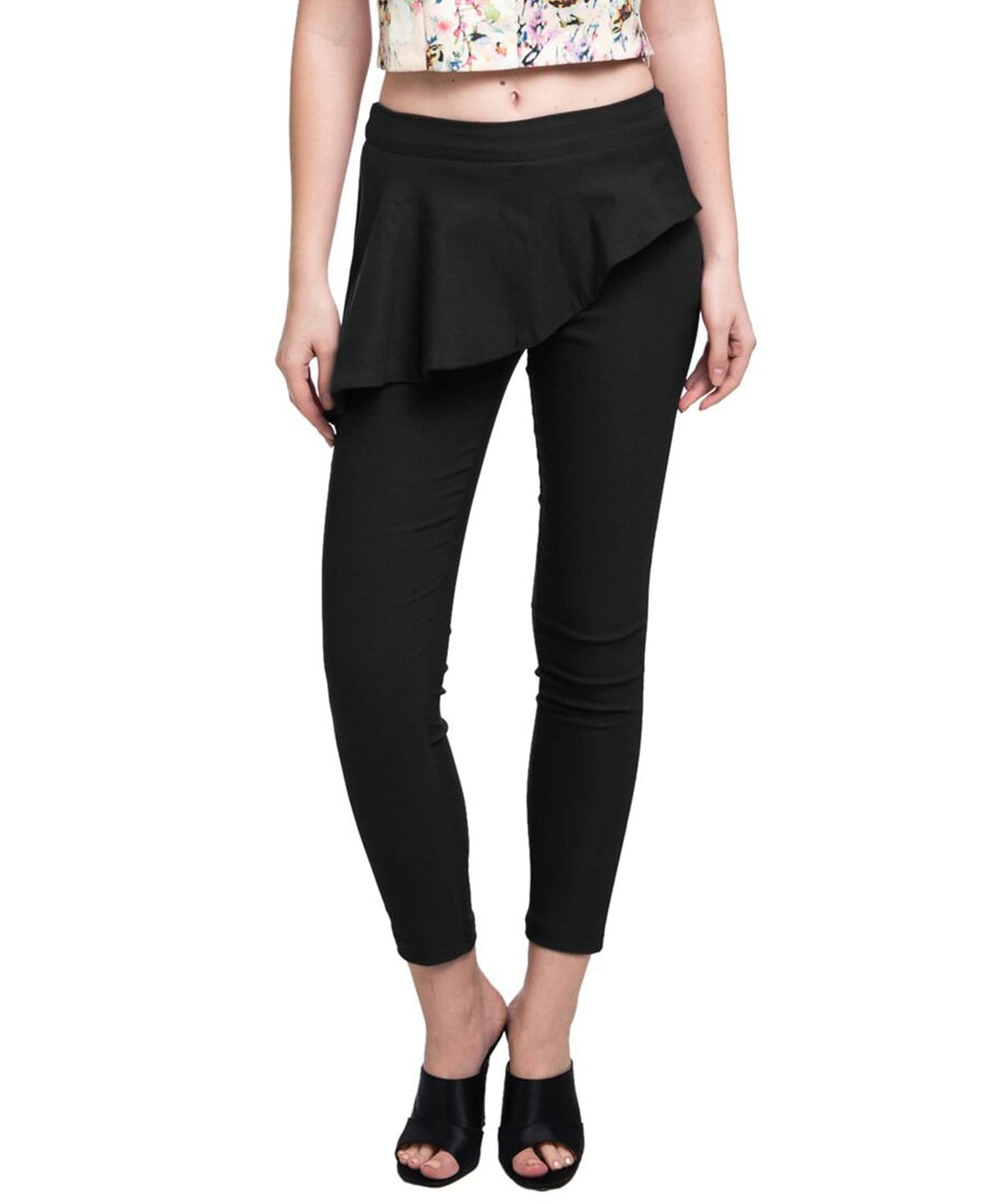Solid Black Peplum Pants - Uptownie