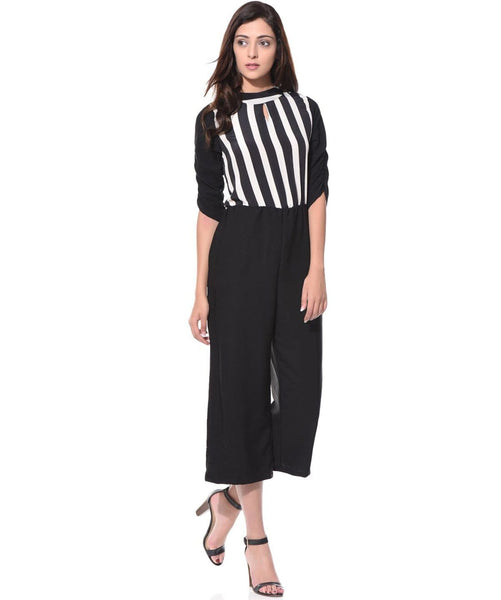 Black & White Striped Jumpsuit - Uptownie