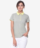 Solid Grey Collar T-shirt - Uptownie, tops
